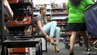Footware buying things with a charming teen that flashes us