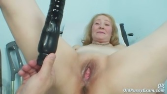 Gyno health professional speculum assessments notably old mature pussy Sofie