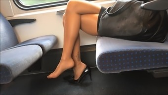 Beautiful Legs at once Footware and Ft in Nylons Pantyhose on Practice
