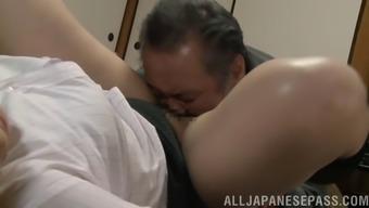 Elder senior Japanese people ladies fucking her supervisor practical