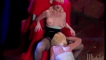 Hot blondes contain an astounding lesbian threesome