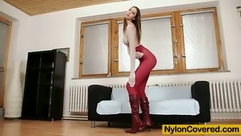 Great Kitty Jane postures in nylon material bodysuit top shoes