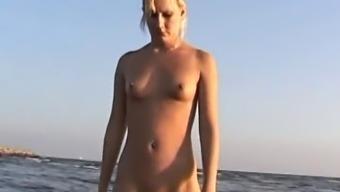 Naked Shore - CamelToe Blond Photoshoot