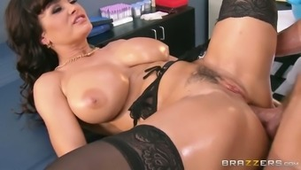 Oversexed brunette milf gets her cunt fucked in doggy and christian missionary assignments
