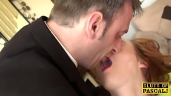 Squirting english brunette being touched