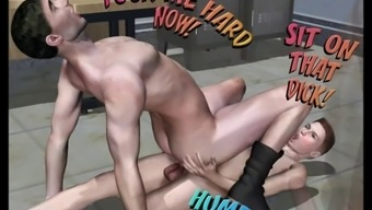 Cheerful porno comic book with intense anal passage and serious throat