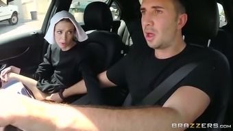 Slutty darkish haired nun gives hot serious throat to effectively her close friend in automobile