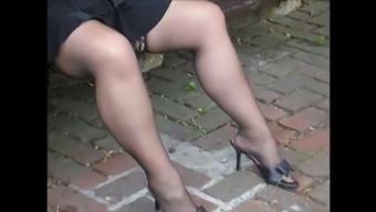 Voyeur stockings,high heel shoes,up mini skirts