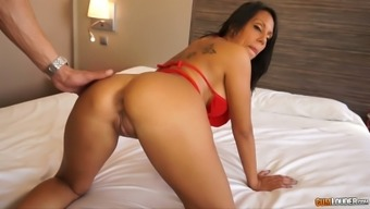 Sexy raven haired MILF along with tattooed back excursions large cock in cowgirl position