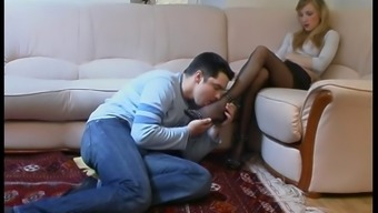 Attractive pantyhose girl footjob 2(two)