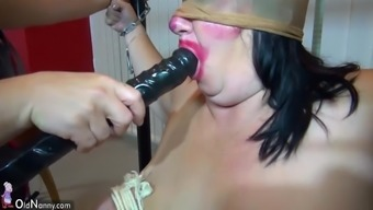 Notably plump granny and Fat senior fucked with the use of strapon, heated BDSM scene