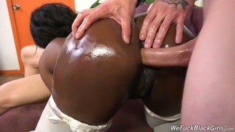 Dark colored moaner in white stockings Skyler Nicole is fucked by a couple of dudes