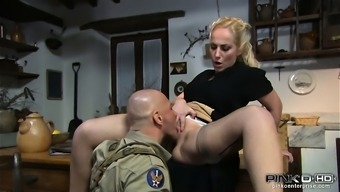 Black homemaker gets her pussy fed themselves using a army officer