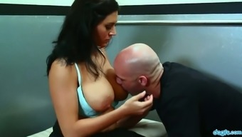 Juggy seductress Raylene rides large penis switch and personally