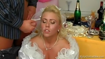 Naughty bride to be prick mark gets sperm in emily's younger times lips before drilled at her weddind
