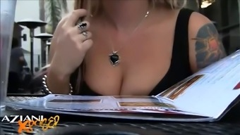 sexy blonde xposing herself on a local bar in public along with a chance of getting snagged