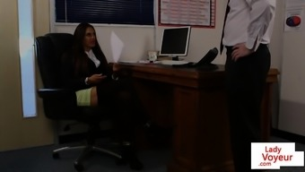 Brit voyeur teaches subscription to actually jerk in business office
