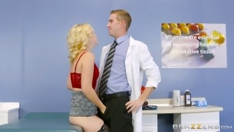 Sharp blond spiteful lady has her hirsuite clit crashed back with her doctor's excess weight shaft