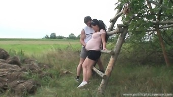 Lovely pregnant date is horny as misery and it needs to fuck open air