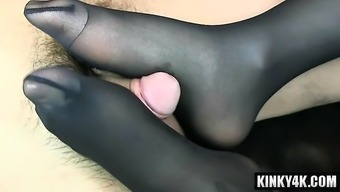 Warm version footjob by using cumshot