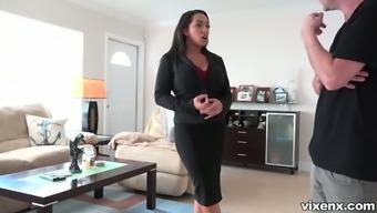 Horn-mad real estate car dealer Priya Value commences stripteasing in front of clientele