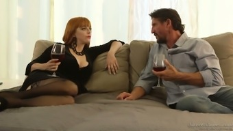 Man having ginger girl Penny Pax gives a blowjob and goes wild on challenging post
