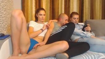Warm blonde in panties repartee sisters Man on settee