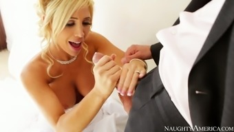 Warm blond soon to be bride Tasha Reign gives blowjob to really her fiancé Ryan Driller