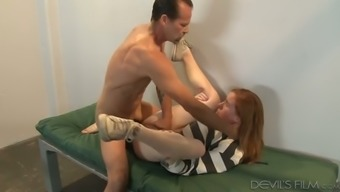 Sex hungry cop fucks red haired caged chick Kierra Wilde in mish pose