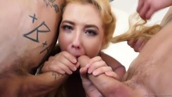 Blue eyed blonde MILF slut Samantha Rone demolished by two cocks