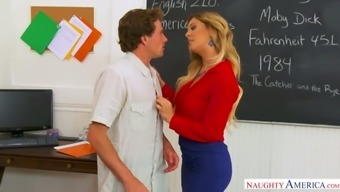 Mouth watering teacher Cherie Deville is having crazy sex with her favorite student