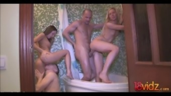 Realistic Young adult Couples Wash room Orgy Foxi Di