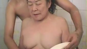 Japanese granny having fun make-love