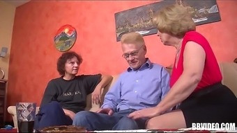 A couple of german age slags being intimate with dick in threesome