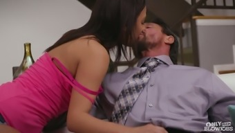Sweet stepdaughter Amara Romani guzzles a succulent pipe or her action dad