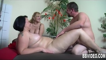 Large breasted mature BBW the german language slag driving joystick