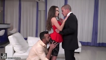 Man having Hungarian spiteful lady Anita Bellini is fucked by two co-workers