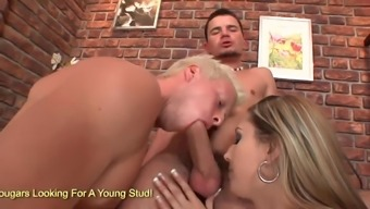 Great black Kitty Jane and two different guys enjoy in bisexual threesome