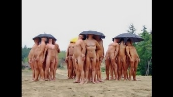 Nudists having fun Summer season