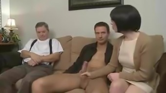 Mama seduces offspring and allow partner sit back and watch