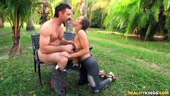 Wild Abigail Mac savours fidgeting with a big pecker outdoors
