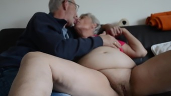 Fat old granny touching