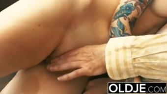 Young and old Youngster Brown Fucked by Old adult man small pussy joystick thrashing