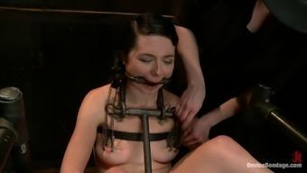 Brunette slavery tramp victim of instruments!