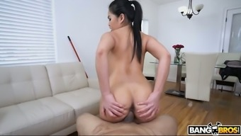 Attractive willowy toddler Cindy Starfall is fully into jumping on tough elevate