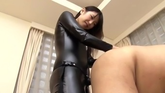 Japanese strapon hides lady