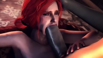 3D babe Triss getting her pussy and ass hammered