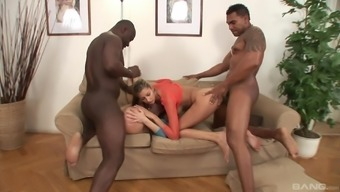 Kitty Jane and Olga Barz fucked and cum sprayed by two big black cocks
