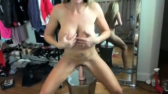 Hot Blonde MILF with Big Tits in Changing Room Live Cam
