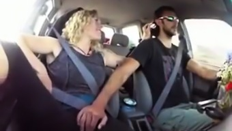 Blonde gets fingered till cum in the car